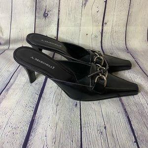 A. Marinelli Black Leather Heeled Mules Size 10M